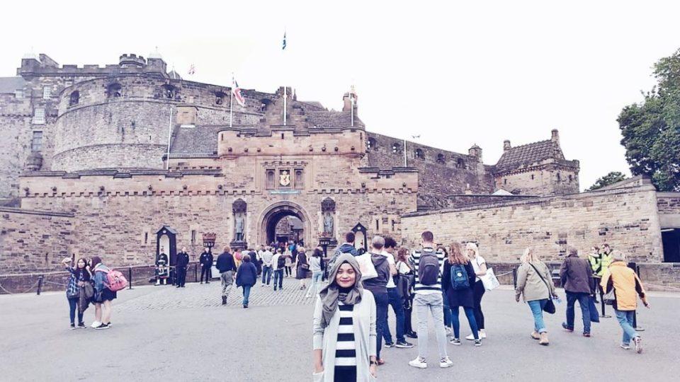 In front of Edinburgh Castle