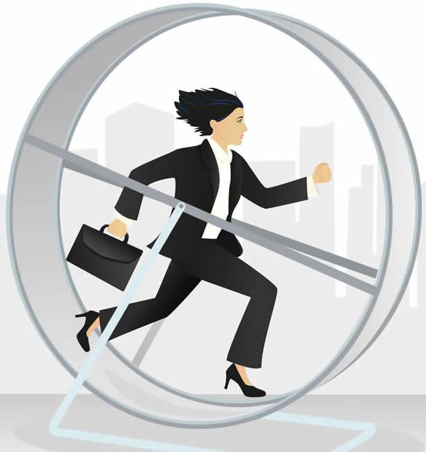 Woman on a hamster wheel