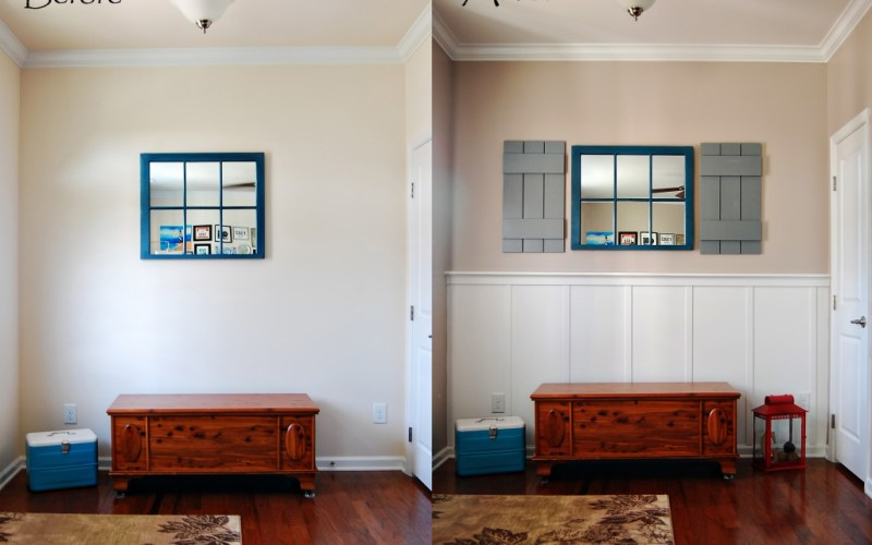 Living on Saltwater - Entry Way Nook - Window Sash Mirror - Board and Batten - Shutters