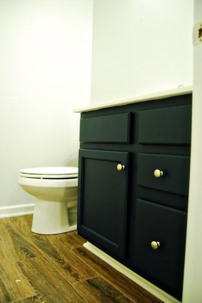 Living on Saltwater - Guest Bathroom Redo - Vanity - Royal Navy - Thin Ice