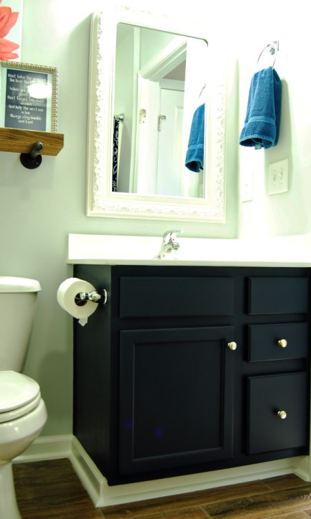 Living on Saltwater - Before & After - Guest - Bathroom - Navy - Gray