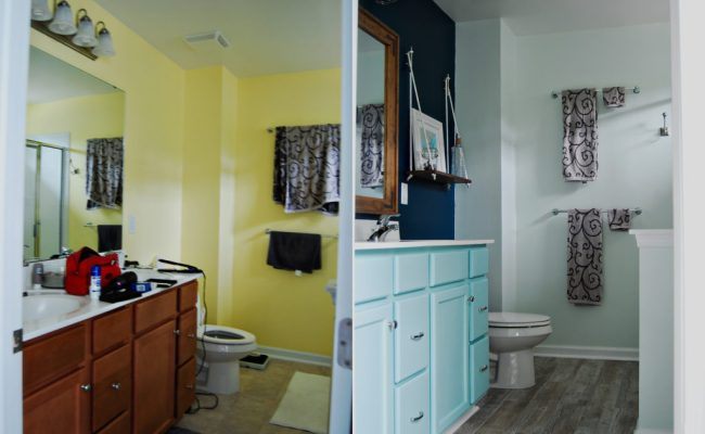 Living on Saltwater - Bathroom Makeover - Nautical - Industrial Mirrors