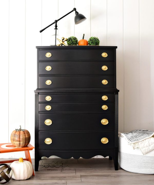 Beautiful Black Dresser refinished by Living on Saltwater in North Carolina