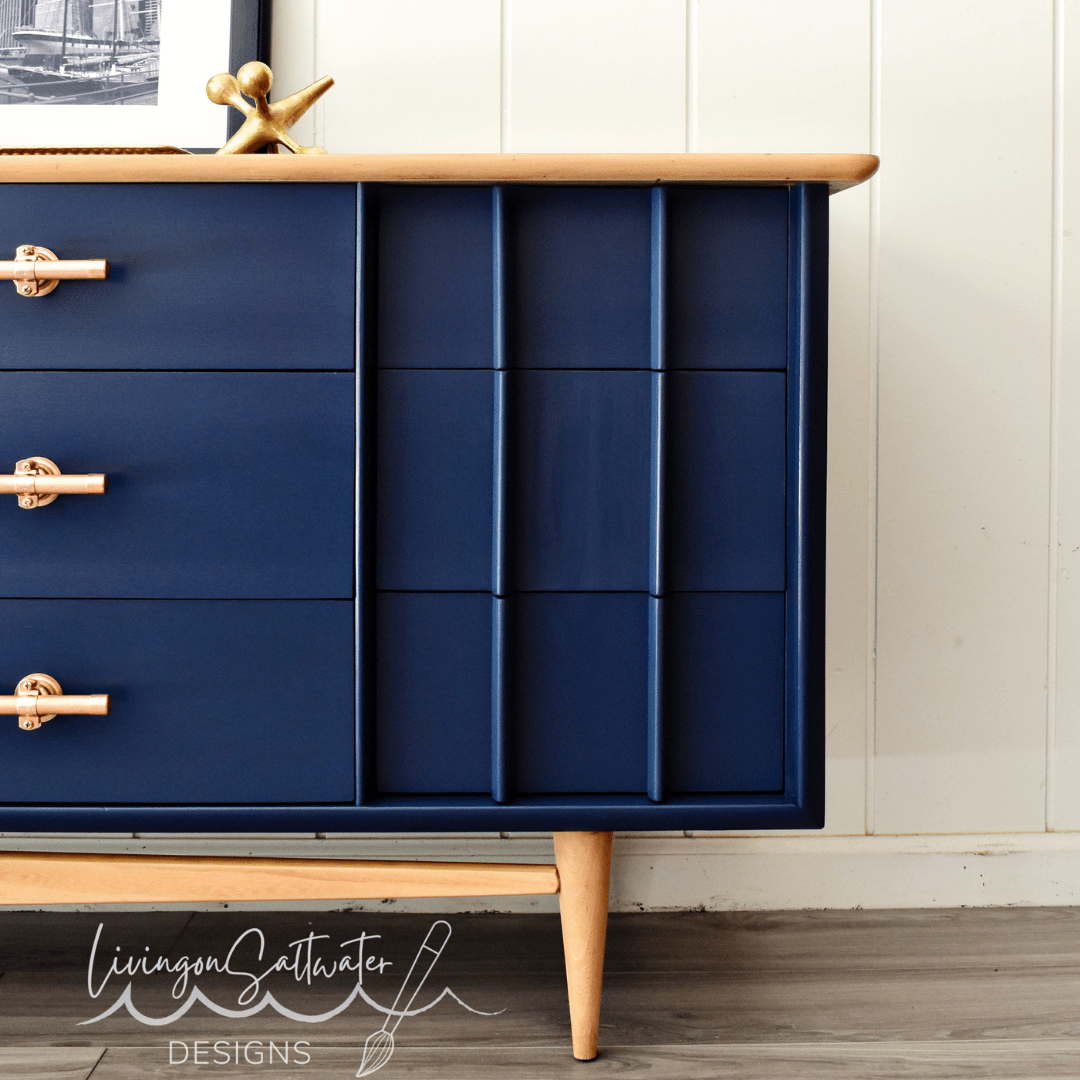 Beautiful Dark blue Dresser refinished by Living on Saltwater in North Carolina