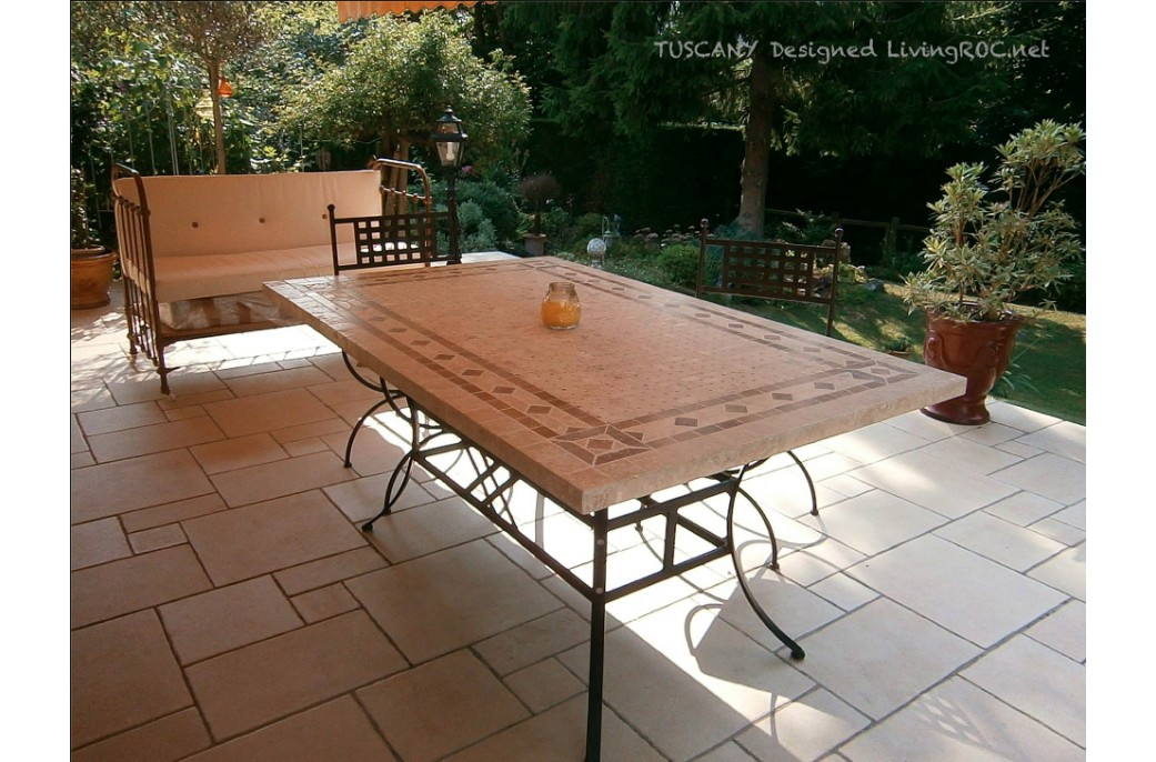 160 200 240cm outdoor garden patio mosaic marble table tuscany