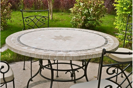 125 160cm outdoor garden round mosaic stone marble dining table mexico