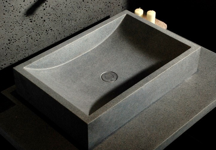 vasque en pierre grise a poser granit veritable torrence