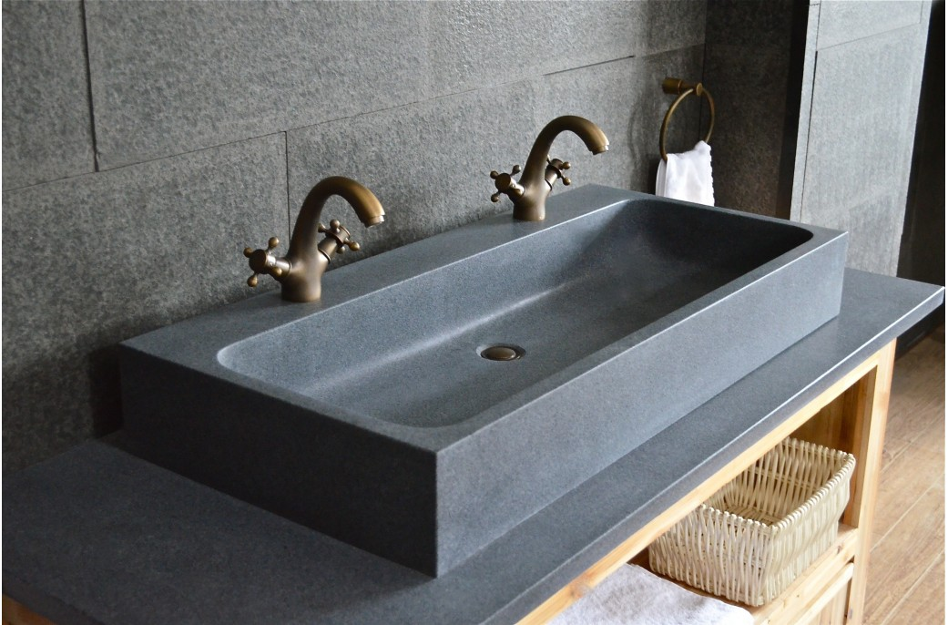 grande double vasque en pierre 100x46 granit gris looan
