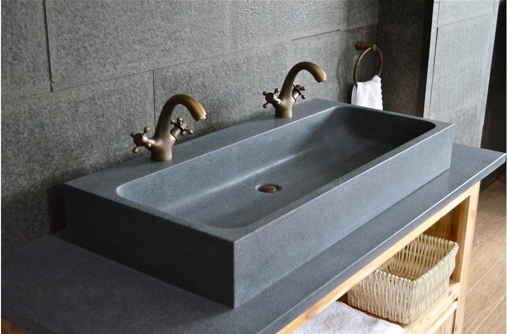 lavabo salle de bain double vasque en pierre granit gris looan 100x46
