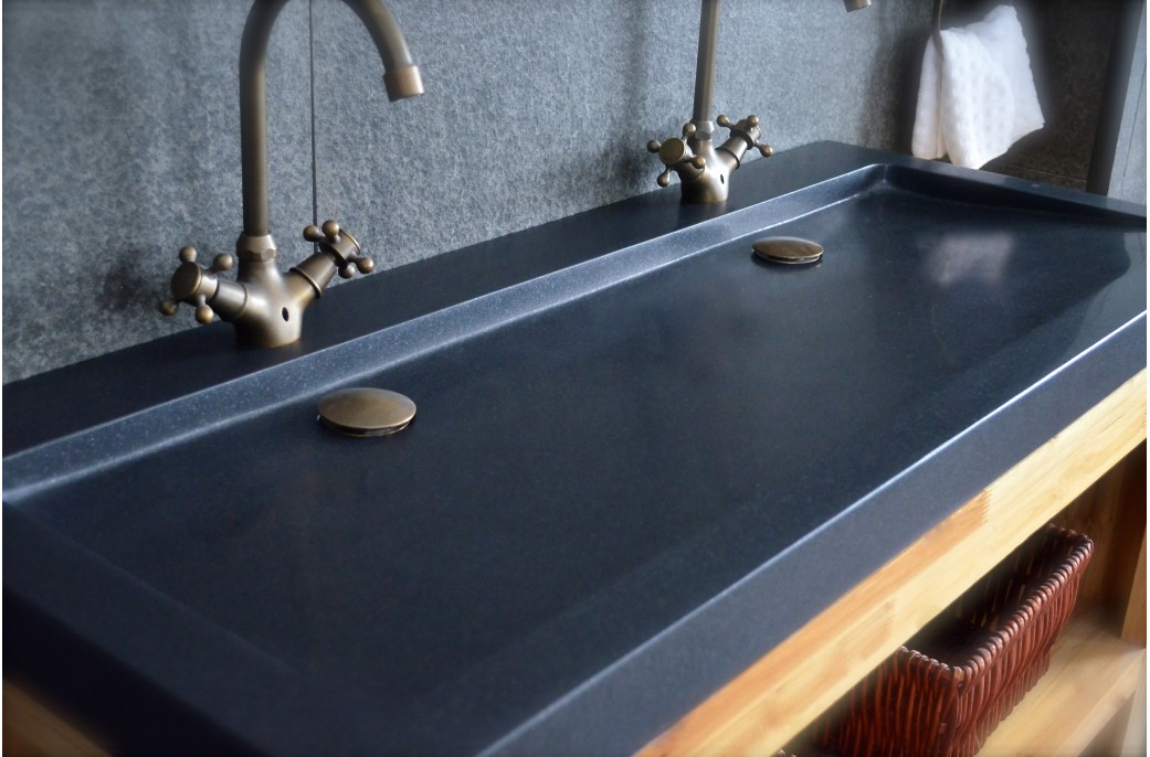 Double Vasques En Granit Noir YATE SHADOW Poser 120x50