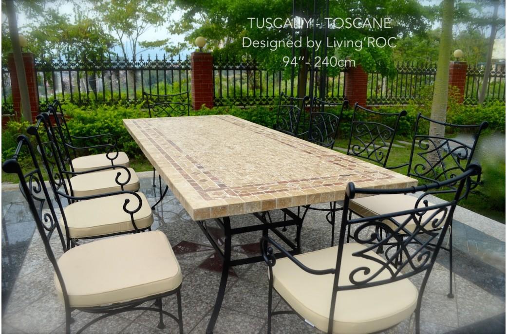 Table Mosaque En Pierre TOSCANE De Jardin En Fer Forg