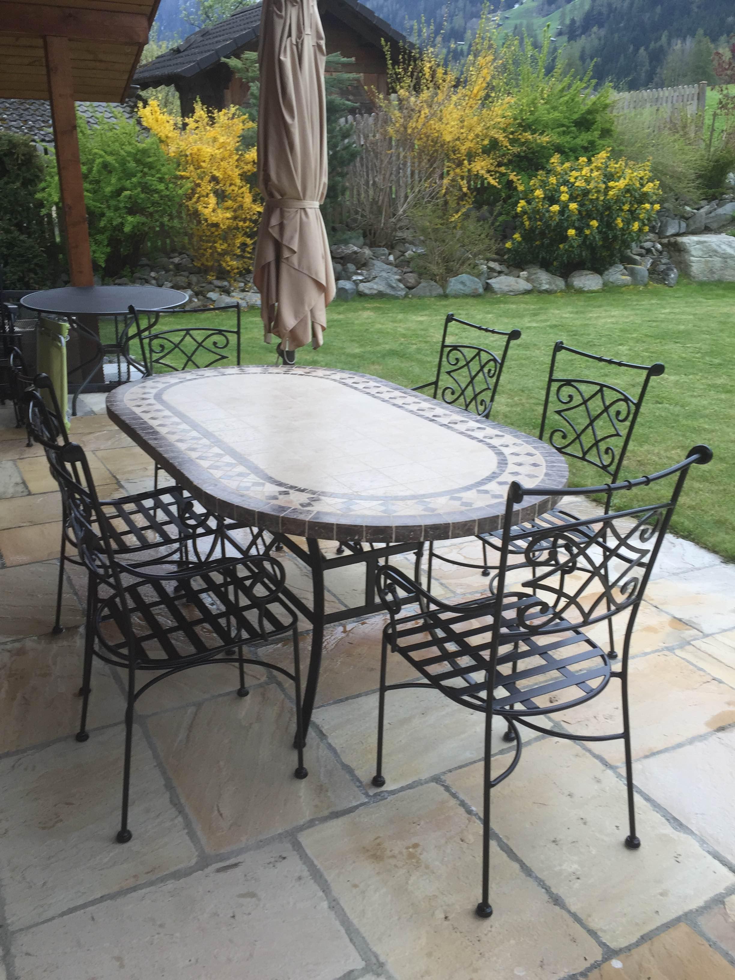table de jardin mosaique 120 160 180 240 ovale marbre travertin ovali