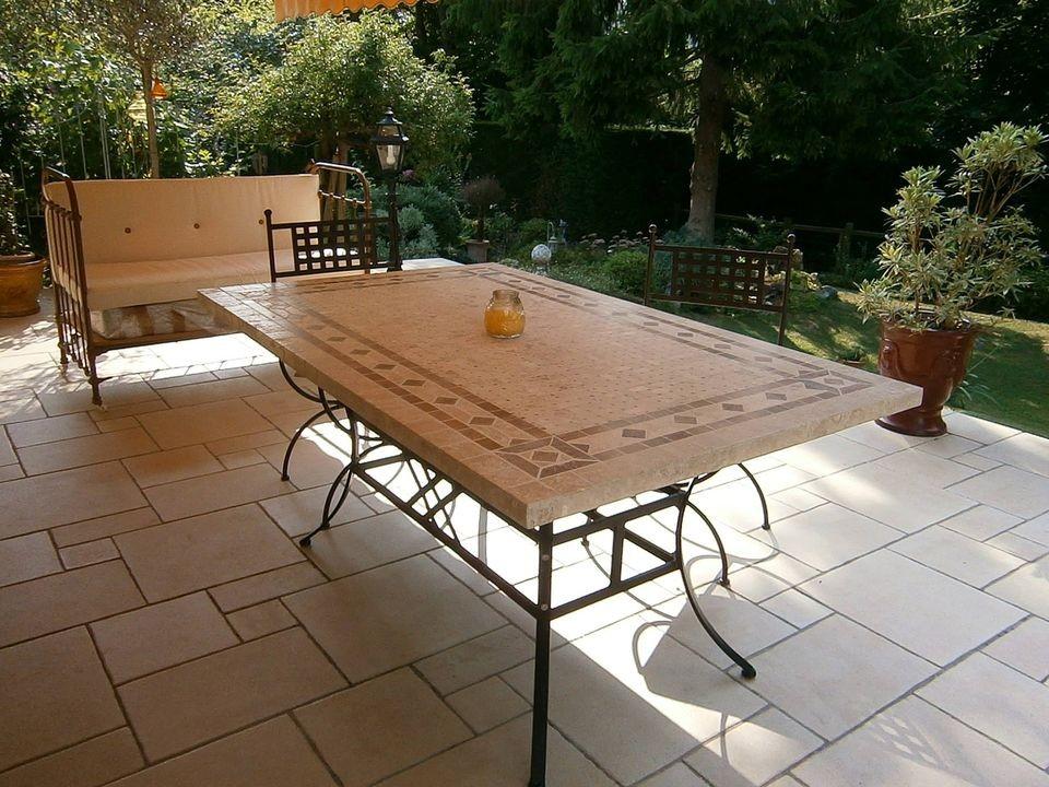 table de jardin mosaique marbre pierre naturelle 120 160 200 240 toscane