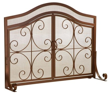 Plow & Hearth Crest Small Fireplace Screen with Doors