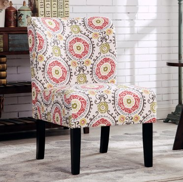 Roundhill Furniture Capa Print Fabric Armless Contemporary Accent Chair