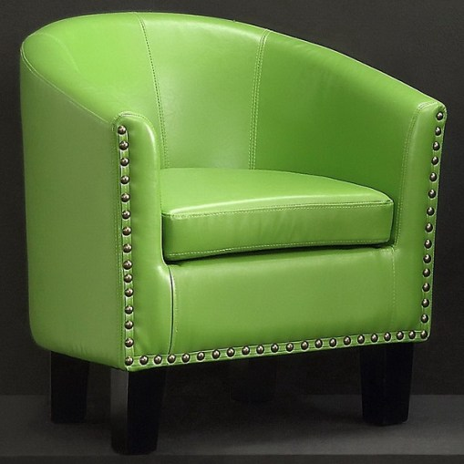 Millbury Home Isabela Arm Club Chair, PU Leather Barrel Modern Chair, Pear Green