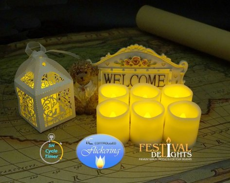 Timer Flameless Candles By Festival Delights - Premium IC-controlled Soft Flickering Votive Battery Operated Candles, 70+ Hours of Lighting, 5H Timer, Battery included