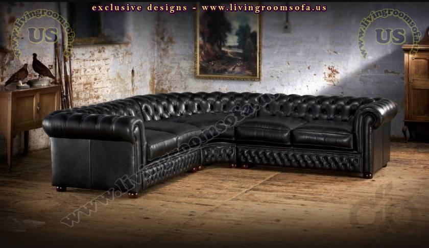 leather sectional chesterfield sofa