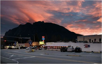 Sunrise over downtown North Bend by Danny Raphael