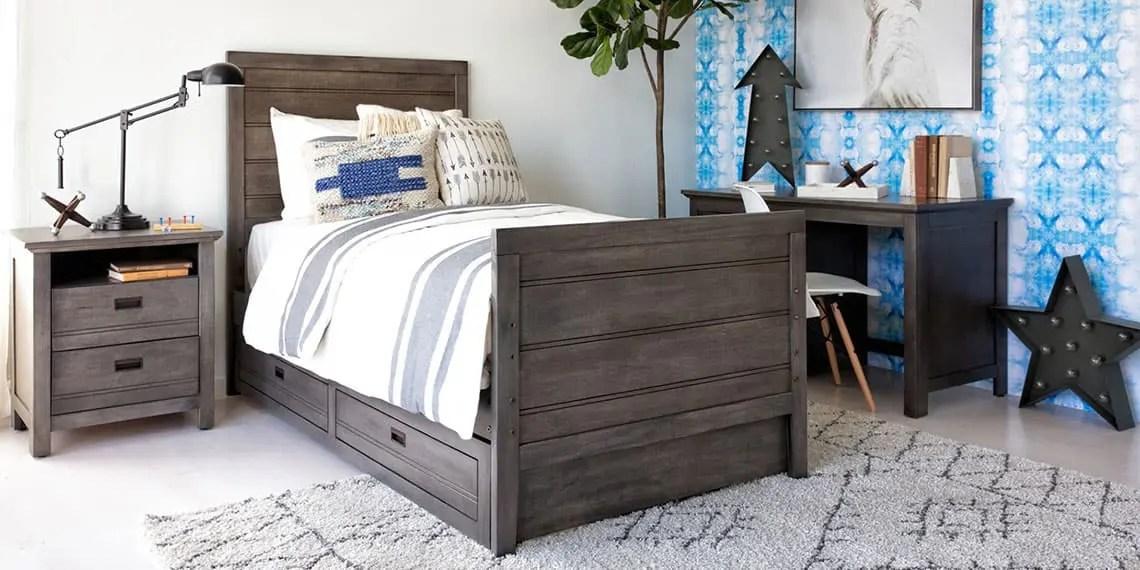 country rustic bedroom with owen grey