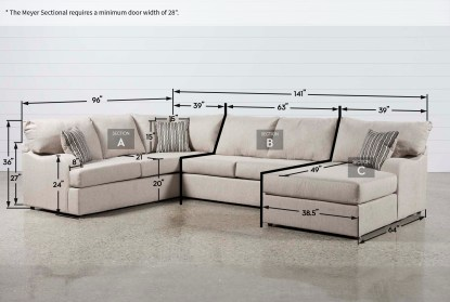 meyer 3 piece 139 sectional with right arm facing chaise
