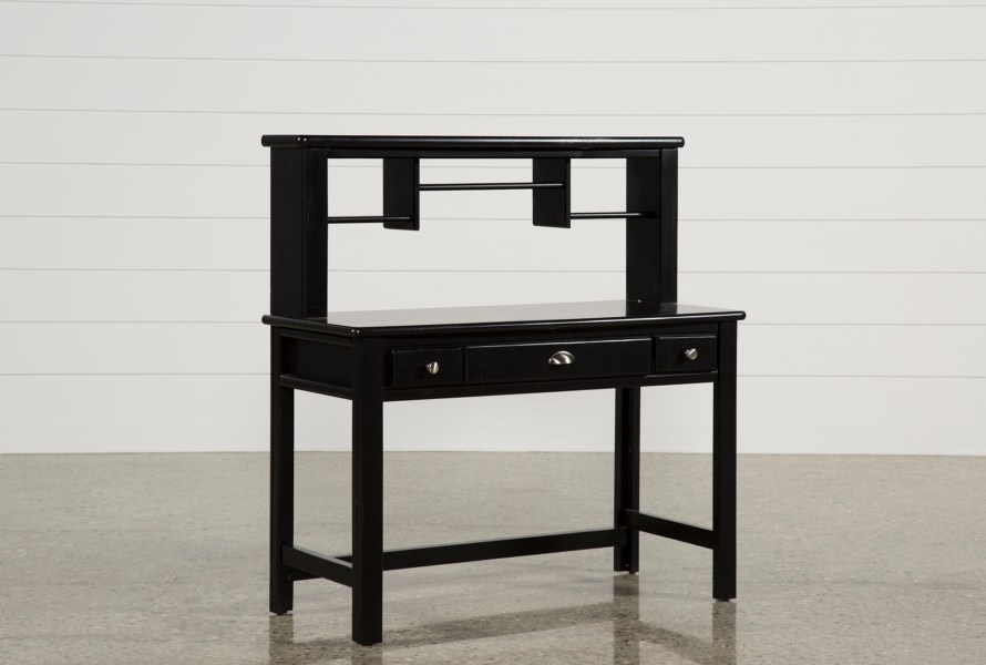 Summit Black Desk Hutch   Living Spaces Summit Black Desk Hutch  Qty  1  has been successfully added to your Cart