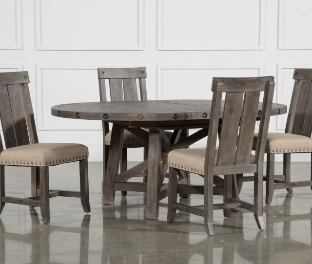 Jaxon Grey 5 Piece Round Extension Dining Set W Wood Chairs Living Spaces