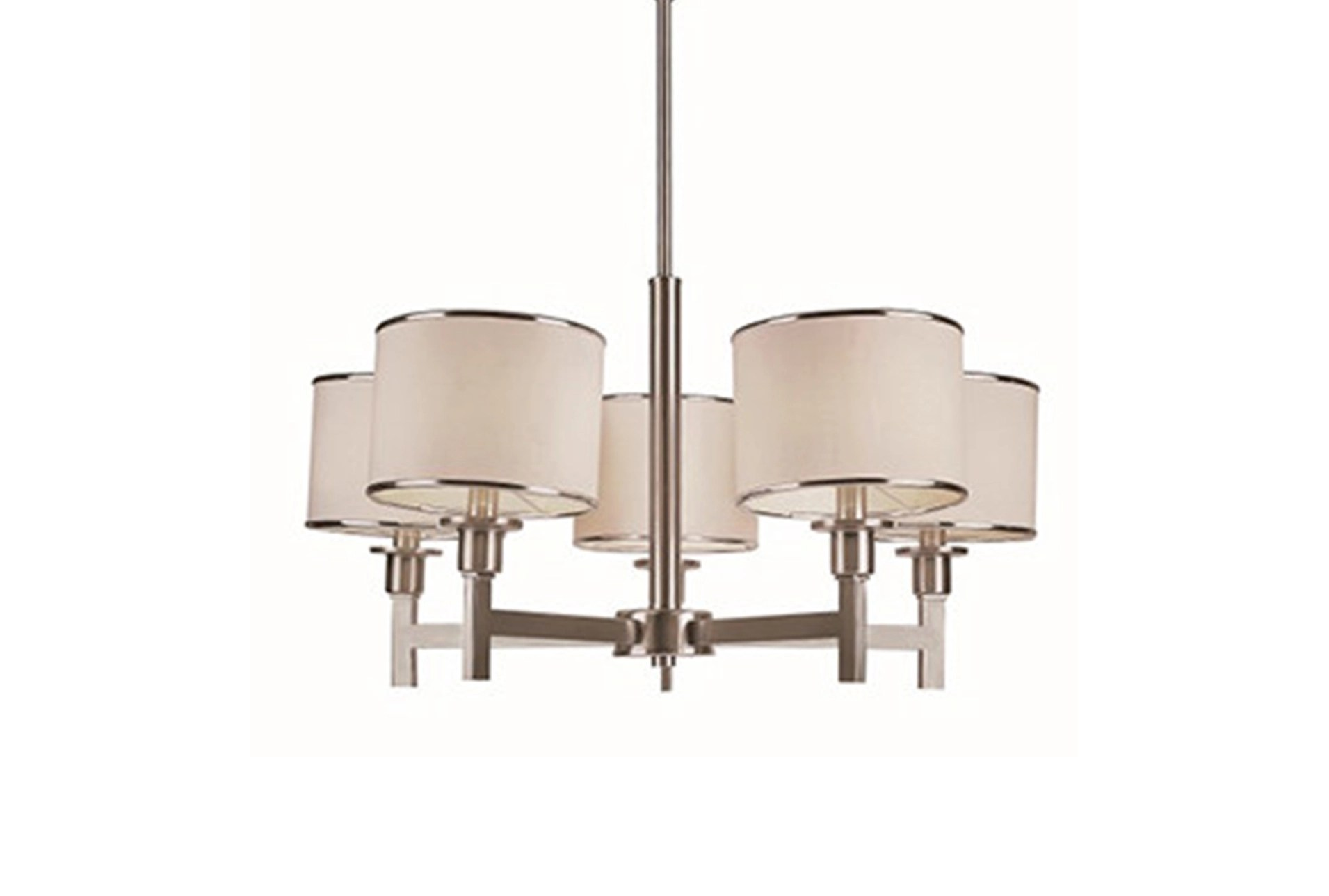 Chandeliers to Fit Your Home Decor   Living Spaces Chandelier Nickel And Linen Shade 5 Light