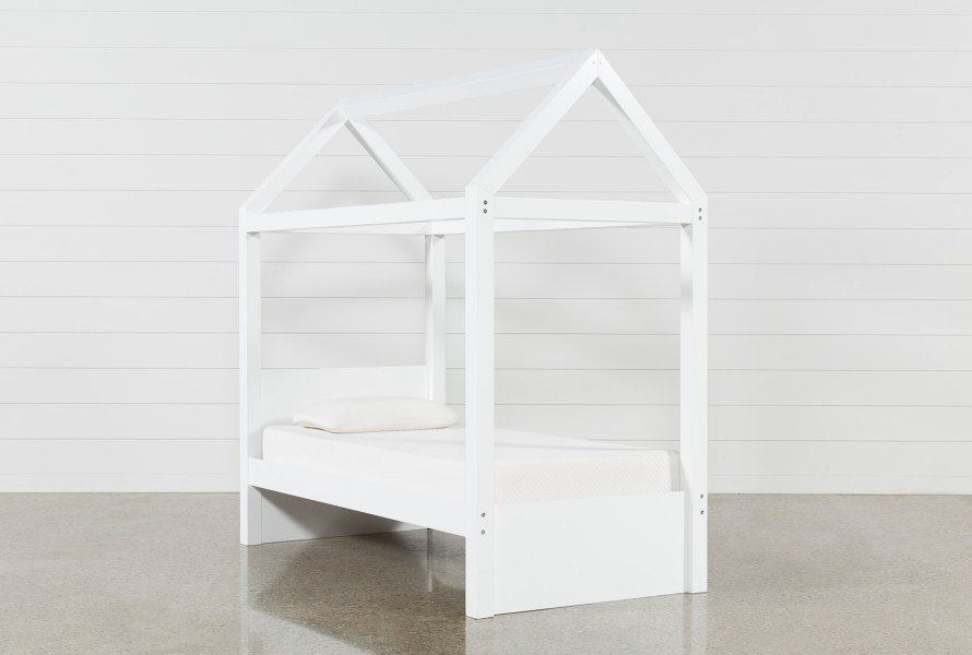 Taylor White Twin Canopy House Bed   Living Spaces
