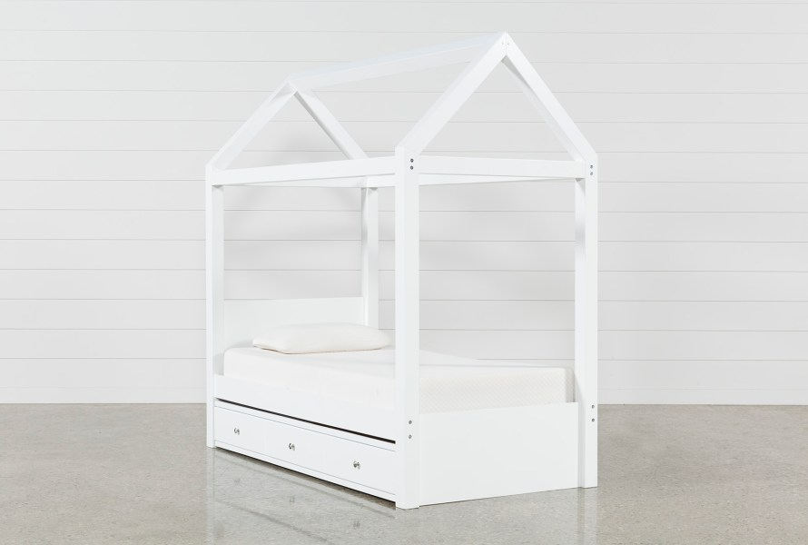 Taylor White Twin Canopy House Bed With Trundle   Living Spaces Taylor White Twin Canopy House Bed With Trundle   360