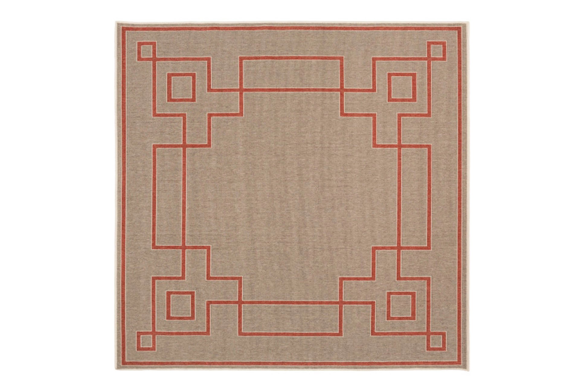 87x87 Square Outdoor Rug Greek Key Border Natural Poppy Living Spaces