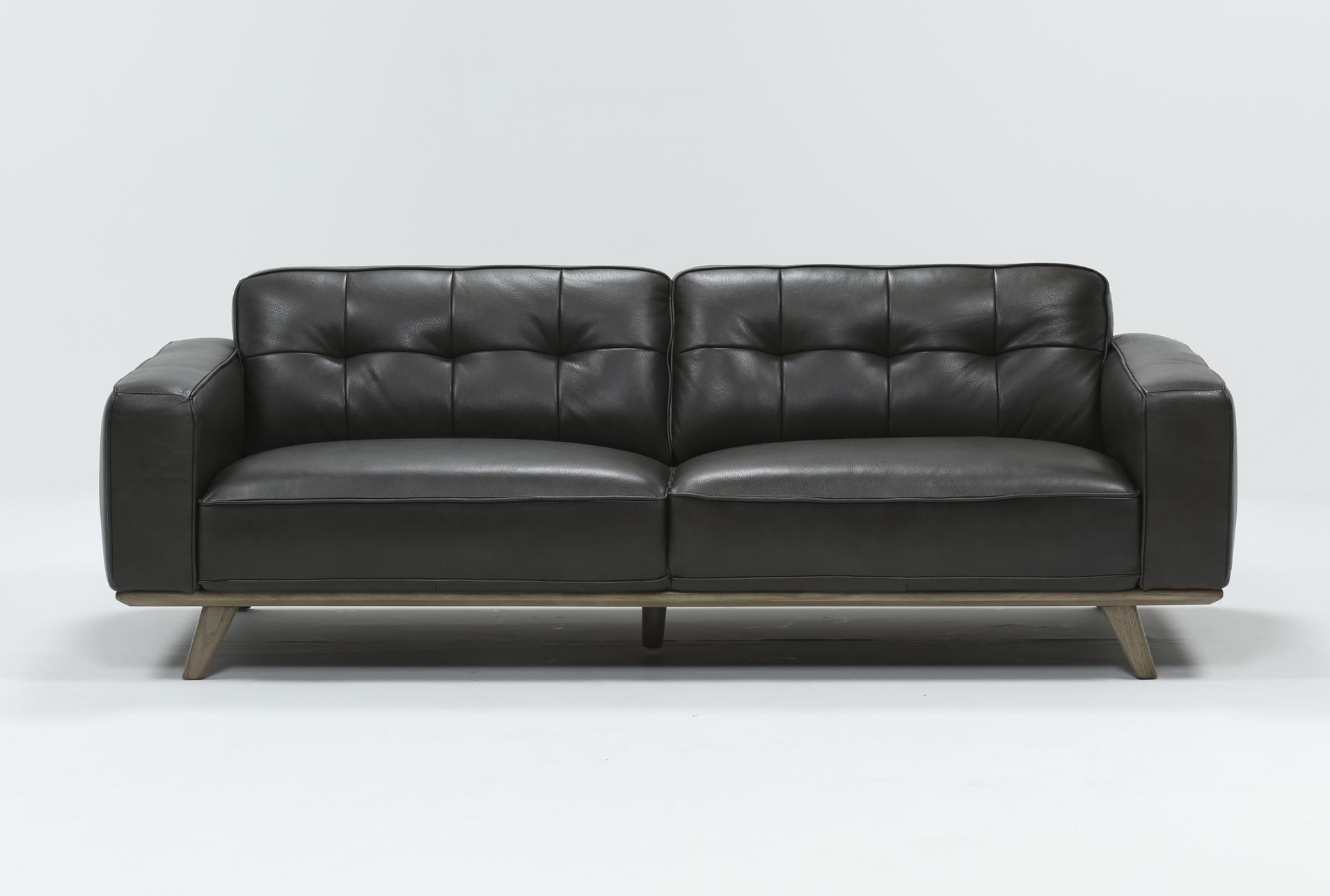 caressa leather dark grey 90 sofa