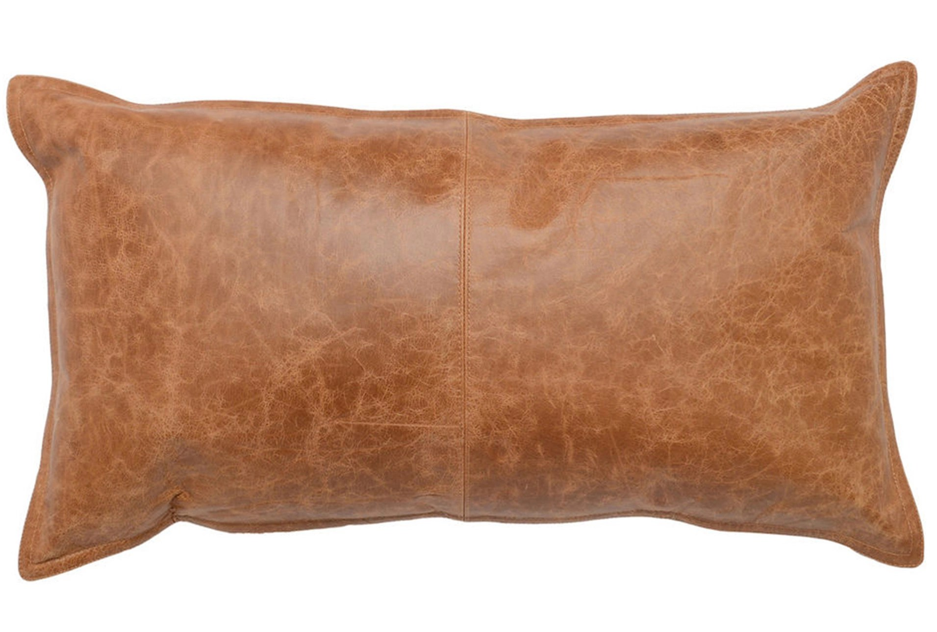 14x26 chestnut brown pieced leather lumbar throw pillow