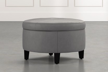 perch dark grey leather small round storage ottoman