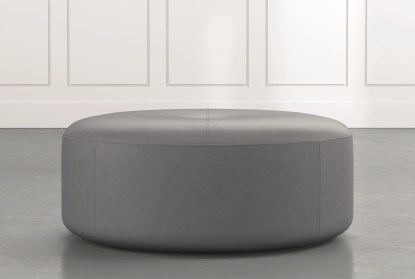 elm ii dark grey round leather ottoman