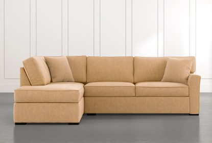 aspen yellow 2 piece sleeper sectional with left arm facing chaise
