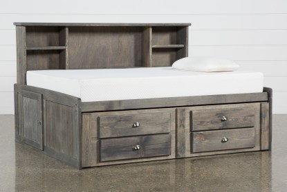 summit grey full bookcase daybed bed with 2 drawer captains trundle