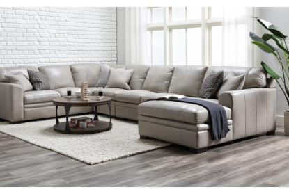 greer stone leather 4 piece 171 sectional with right arm facing chaise armless sofa