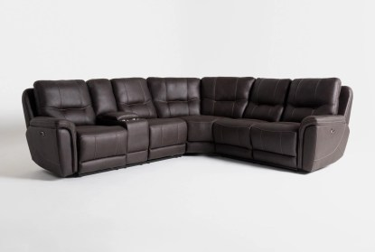 juniper 3 piece 104 power reclining sectional with left arm facing console loveseat