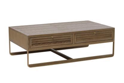 oak shutter 2 drawer coffee table