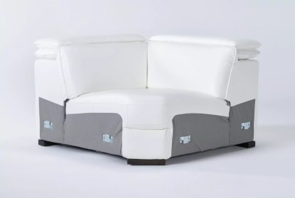 hana white leather 3 piece 113 power reclining sectional with right arm facing chaise