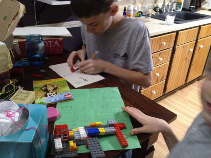 making up their own lego kits