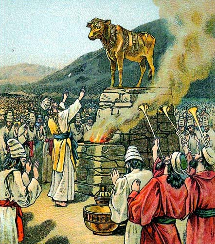 Israelites worshiping the golden calf