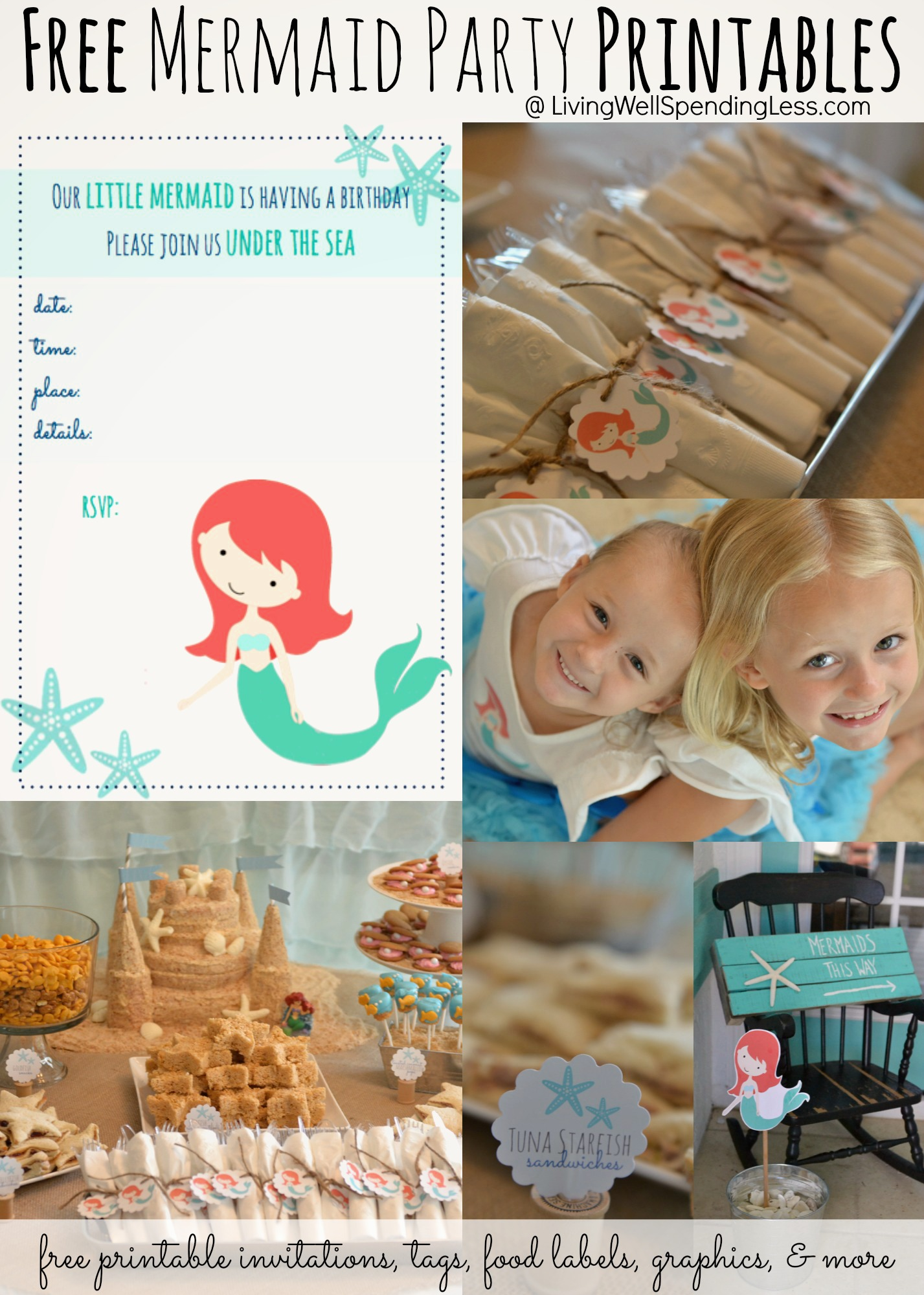 Free Mermaid Party Printables Cute Printable Invitations