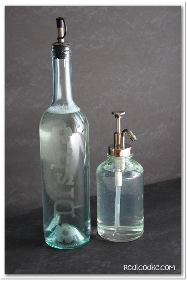 diy etched wine bottle dish soap