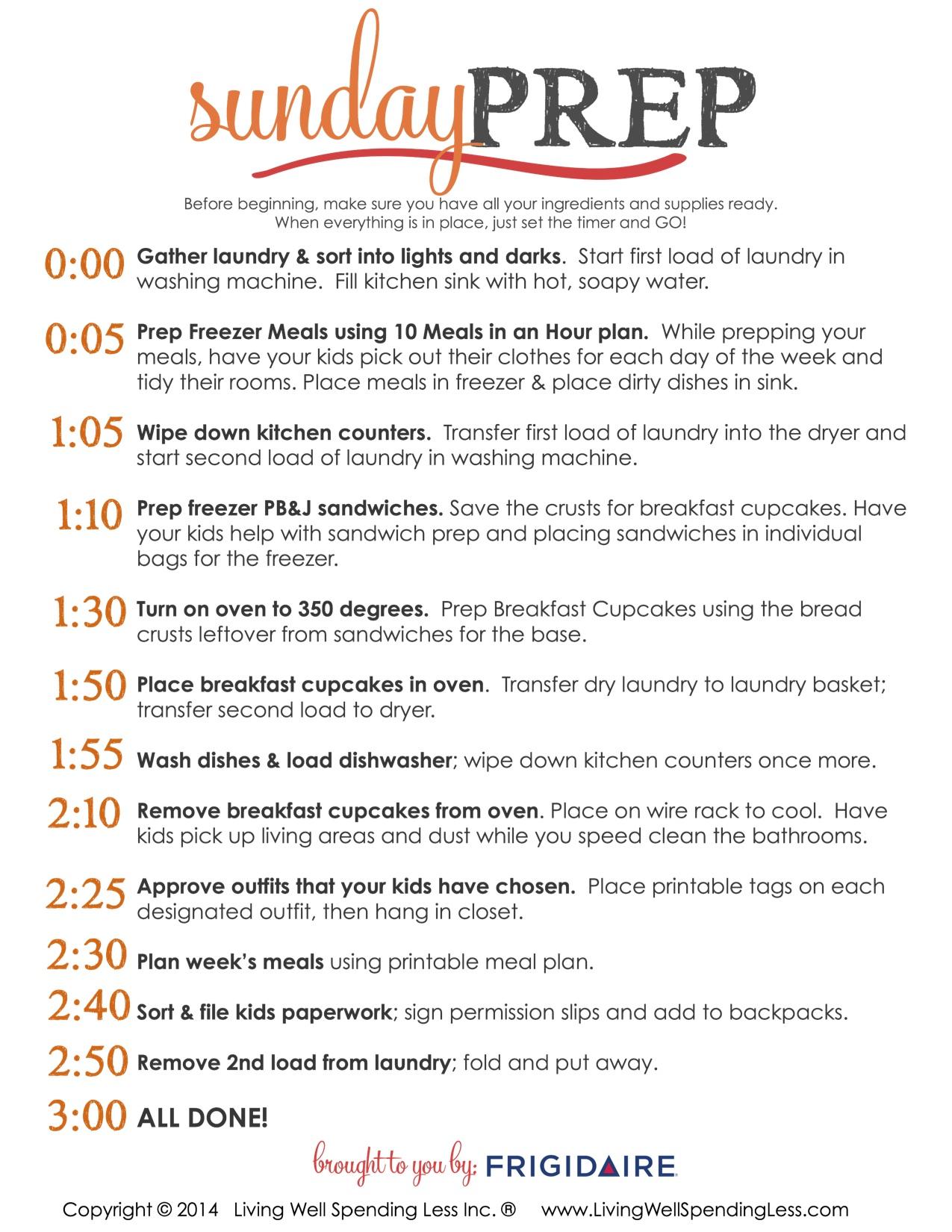 Sunday Prep Action Plan
