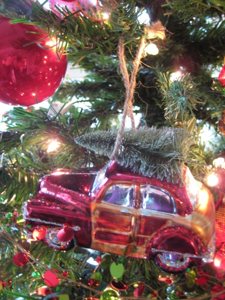 Vintage wood paneled car Christmas ornament