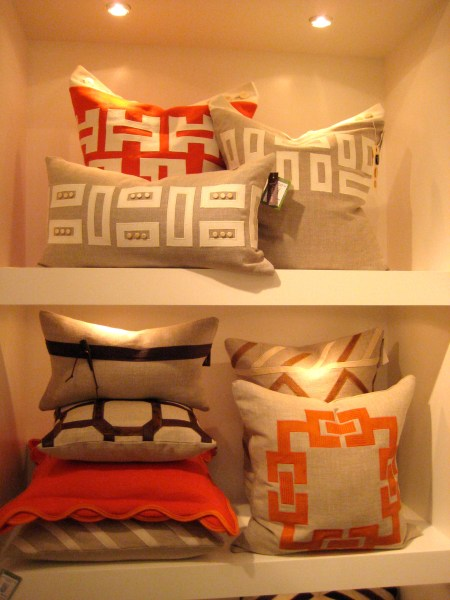 Geometric pillows orange and beige