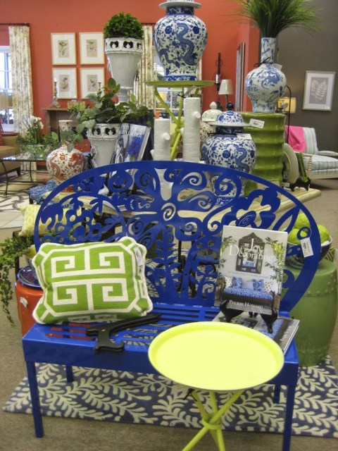 Navy garden bench and lime garden stools
