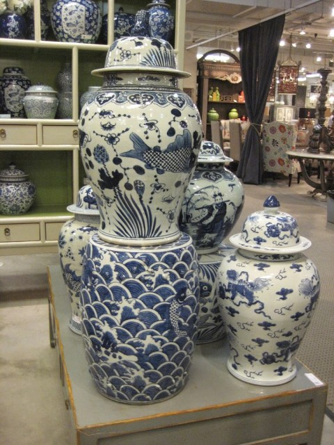 Porcelain ginger jars in blue and white with koi motif